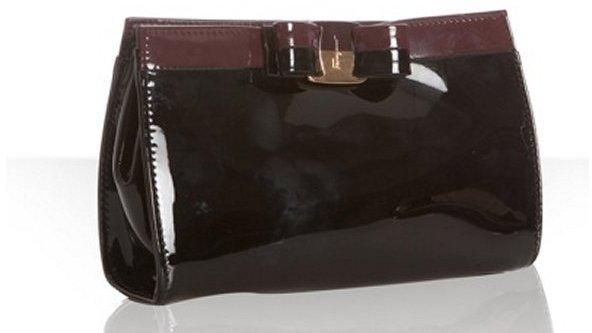 Ferragamo black patent leather bow detail convertible clutch