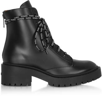 Kenzo Black Leather Women's Combat Boots