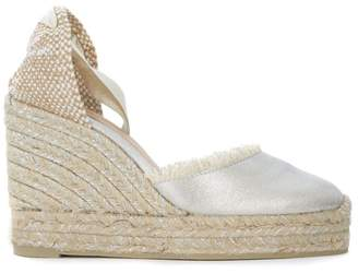 Castaner Canela Jute And Silver Fabric Wedge Sandal With Fringe