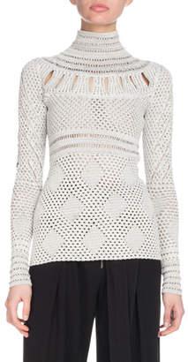 Proenza Schouler Turtleneck Long-Sleeve Crochet Knit Sweater