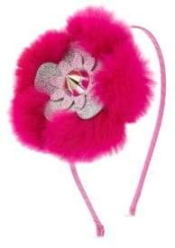 Bari Lynn Girl's Studded Fox Fur Flower Headband