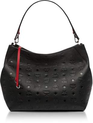 MCM Klara Black Monogrammed Leather Medium Hobo Bag