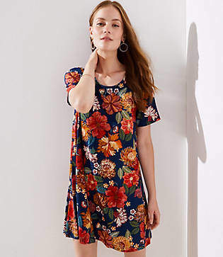 LOFT Petite Floral Short Sleeve Swing Dress