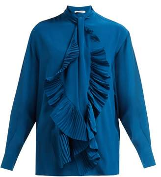 Givenchy Pleated Tie Silk Crepe De Chine Blouse - Womens - Blue