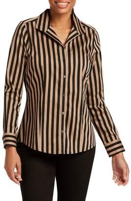 Foxcroft Annie Stripe Cotton Sateen Blouse