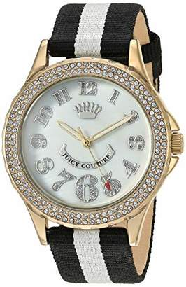 Juicy Couture Black Label Women's Swarovski Crystal Accented Black and White Nylon Strap Watch