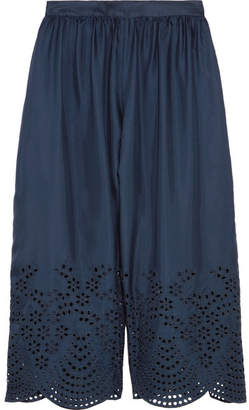 Alice + Olivia Alice Olivia - Eden Cropped Broderie Anglaise-trimmed Silk-satin Pants - Navy