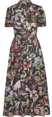 Valentino Pleated Printed Cotton-Poplin Midi Shirt Dress
