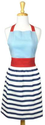 "Design Imports Striped Skirt Kitchen Apron, 31""x28"", 100% Cotton, Red, White Blue"