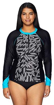 Coastal Blue Women's Standard Active Swimwear Zipper Colorblock Rash Guard