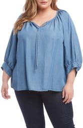 Karen Kane Blouson Sleeve Tencel® Lyocell Peasant Top