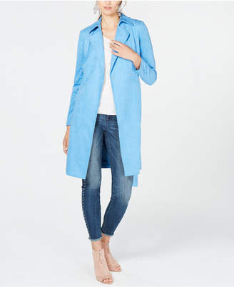 INC International Concepts I.N.C. Faux Suede Trench Coat, Created for Macy's