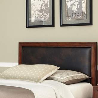 Home Styles Duet Queen Panel Headboard with Brown Leather Inset, Rustic Cherry