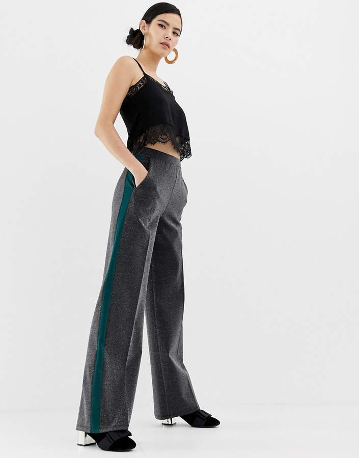 wide leg trousers with side stripe in silver
