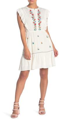 Love Stitch Ruffle Sleeve Floral Embroidered Pintuck Pleat Dress
