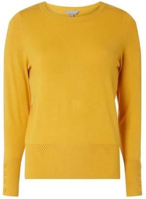 Dorothy Perkins Womens Petite Yellow Cuff Detail Jumper