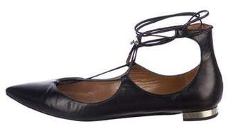 Aquazzura Pointed-Toe Leather Flats