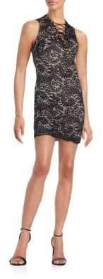 Alexia Admor Lace-Up Lace Mini Dress