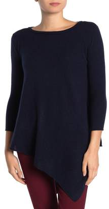 Magaschoni M 3/4 Sleeve Cashmere Asymmetrical Hem Pullover