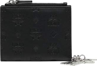 MCM Two Fold Flat Wallet In Monogram Leather Charm