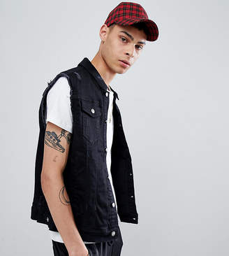 Asos Sixth June sleeveless denim jacket in black exclusive to
