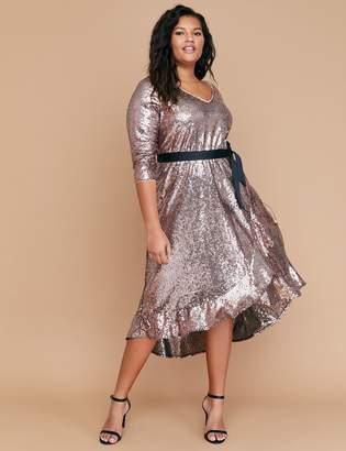 Lane Bryant Sequin Fit & Flare Faux Wrap Dress
