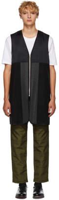 Comme des Garcons Homme Deux Black Long Wool Zip Vest