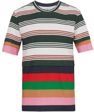 Loewe Striped Cotton And Silk Blend T Shirt - Mens - Multi