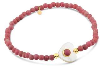 Tous 18K Yellow Gold Super Power Rhodonite & Mother-Of-Pearl Beaded Heart Stretch Bracelet