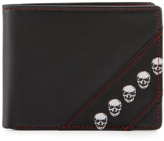 Robert Graham Skull-Print Small-Fold Leather Wallet, Black $38 thestylecure.com
