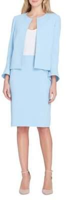 Tahari Arthur S. Levine Two-Piece Vented Flutter-Sleeve Skirt Suit