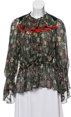 Balenciaga Long Sleeve Floral Print Top