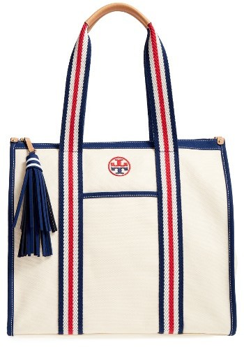 Tory Burch Tory Burch Preppy Canvas Tote - Beige