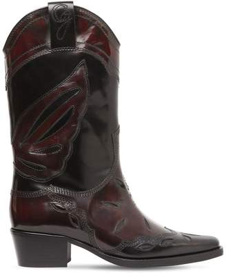 Ganni 45mm Marlyn Brushed Leather Cowboy Boots