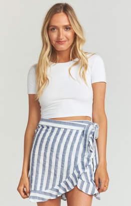 MUMU Roam Ruffle Skirt ~ Dock Stripe Navy