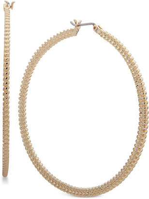 Nine West Large Textured Hoop Earrings