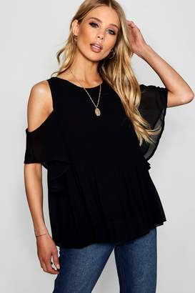 boohoo Pleat Front Cold Shoulder Blouse