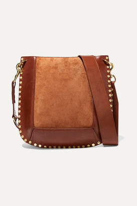 Isabel Marant Oskan Studded Leather And Suede Shoulder Bag - Tan