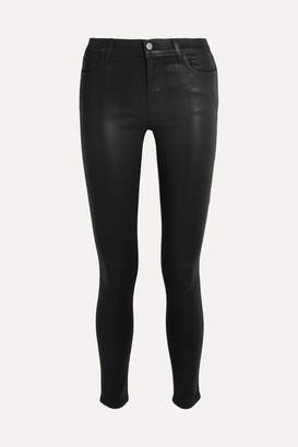 J Brand - 620 Super Skinny Coated Mid-rise Jeans - Black $230 thestylecure.com