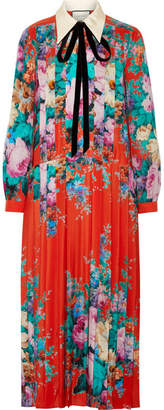 Gucci Velvet-trimmed Pleated Printed Silk Crepe De Chine Midi Dress - Bright orange