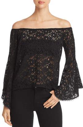 Red Haute Sheer Lace Top