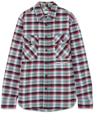 Off-White Oversized Printed Checked Cotton-blend Flannel Shirt - Purple