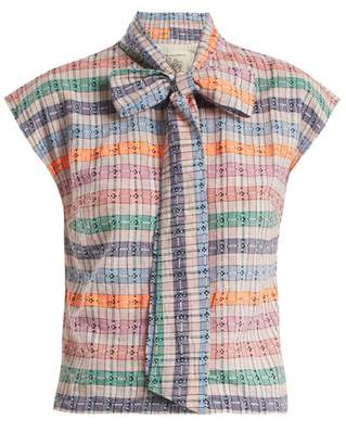Ace&Jig Page Neck Tie Cotton Top - Womens - Multi Stripe