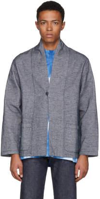 Blue Blue Japan Blue and White Mesh Short Haori Jacket