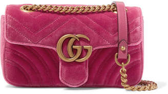 Gucci Gg Marmont Mini Quilted Velvet Shoulder Bag - Pink