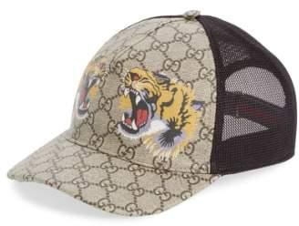 Gucci Tiger Logo Print Baseball Cap