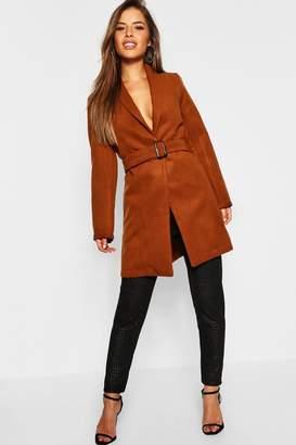 boohoo Petite Belted Longline Wool Look Coat
