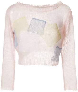 Loewe patchwork cropped jumper