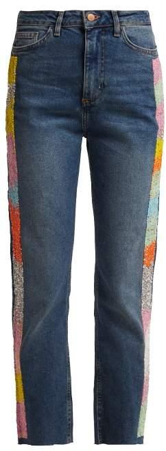 Germanier - Bead Embellished High Rise Straight Leg Jeans - Womens - Blue Multi