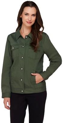 Denim & Co. Stretch Twill Jean Jacket w/Bling Buttons
